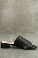 Steve Madden Briele Black Leather Slide Sandals 4