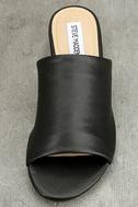 Steve Madden Briele Black Leather Slide Sandals 5