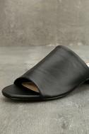 Steve Madden Briele Black Leather Slide Sandals 6
