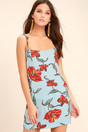 Sugar Town Light Blue Floral Print Shift Dress 1