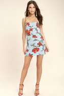 Sugar Town Light Blue Floral Print Shift Dress 2