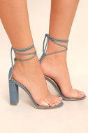Maricela Denim Lace-Up Heels 3