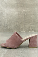 Seychelles Commute Rose Suede Leather Peep-Toe Mules 2
