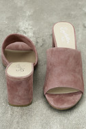 Seychelles Commute Rose Suede Leather Peep-Toe Mules 3