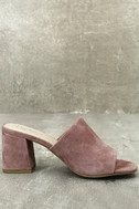 Seychelles Commute Rose Suede Leather Peep-Toe Mules 4