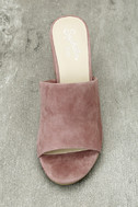 Seychelles Commute Rose Suede Leather Peep-Toe Mules 5