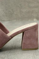 Seychelles Commute Rose Suede Leather Peep-Toe Mules 7