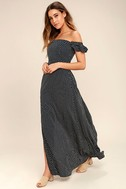 Dream Love Navy Blue Polka Dot Off-the-Shoulder Maxi Dress 3