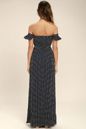 Dream Love Navy Blue Polka Dot Off-the-Shoulder Maxi Dress 5