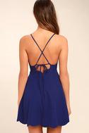Play On Curves Royal Blue Backless Dress 4