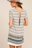 Botanical Beauty Beige Print Shift Dress 1