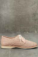 Rollie Derby Punch Chalk Pink Perforated Leather Oxfords 4