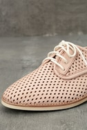 Rollie Derby Punch Chalk Pink Perforated Leather Oxfords 6