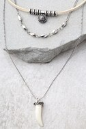 Archaeology Quest Silver and Cream Layered Choker Necklace 2