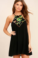 Piece of Caicos Black Embroidered Shift Dress 1