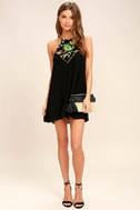 Piece of Caicos Black Embroidered Shift Dress 2