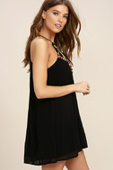 Piece of Caicos Black Embroidered Shift Dress 3