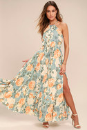 Precious Memories Light Blue and Peach Floral Print Maxi Dress 1