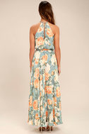 Precious Memories Light Blue and Peach Floral Print Maxi Dress 3