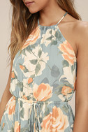 Precious Memories Light Blue and Peach Floral Print Maxi Dress 4