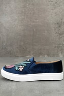 Dirty Laundry Jiana Blue Velvet Embroidered Slip-On Sneakers 2