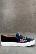 Dirty Laundry Jiana Blue Velvet Embroidered Slip-On Sneakers 4