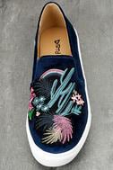 Dirty Laundry Jiana Blue Velvet Embroidered Slip-On Sneakers 5