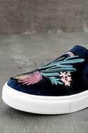 Dirty Laundry Jiana Blue Velvet Embroidered Slip-On Sneakers 6