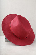 What I Like Red Suede Fedora Hat 3