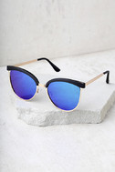 Song and Glance Black and Blue Mirrored Cat-Eye Sunglasses 3