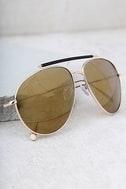 Skyward Gold Mirrored Aviator Sunglasses 3