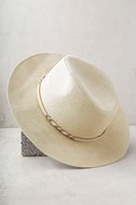 What I Like Light Beige Suede Fedora Hat 3