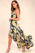 Precious Memories Navy Blue and Yellow Floral Print Maxi Dress 1