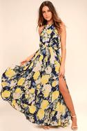 Precious Memories Navy Blue and Yellow Floral Print Maxi Dress 2