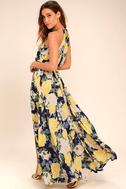 Precious Memories Navy Blue and Yellow Floral Print Maxi Dress 3
