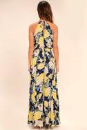 Precious Memories Navy Blue and Yellow Floral Print Maxi Dress 4