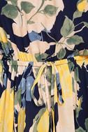 Precious Memories Navy Blue and Yellow Floral Print Maxi Dress 6
