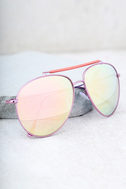 Skyward Pink Mirrored Aviator Sunglasses 2