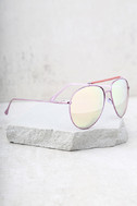 Skyward Pink Mirrored Aviator Sunglasses 3