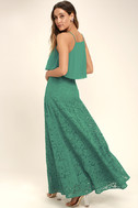Love at First Sight Teal Lace Two-Piece Maxi Dress 3
