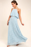 Love at First Sight Light Blue Lace Two-Piece Maxi Dress 1