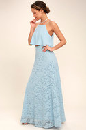 Love at First Sight Light Blue Lace Two-Piece Maxi Dress 2