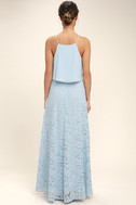 Love at First Sight Light Blue Lace Two-Piece Maxi Dress 3