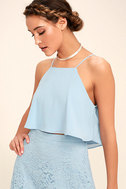 Love at First Sight Light Blue Lace Two-Piece Maxi Dress 4