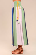 Put on a Show Lavender Striped Midi Skirt 4