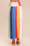 Put on a Show Lavender Striped Midi Skirt 5