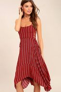 At Ease Red Striped Lace-Up Midi Dress 1