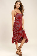 At Ease Red Striped Lace-Up Midi Dress 2