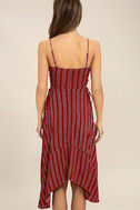 At Ease Red Striped Lace-Up Midi Dress 4