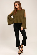 Join the Festivities Olive Green Embroidered Long Sleeve Top 2